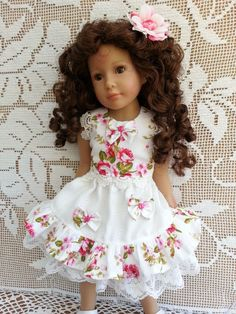 Curly haired Laura Kidz n Cats in a luxury soft fabric blouse and double layered skirt set with flower hairbow, trimmed with lace & bows - blouses, jeans, ethnic, bow, ruffle, fashion blouse *ad