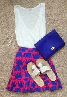 pinkandgreenlivingthedream:  Love this new Lilly skirt! Tank- jcrew Skirt- Lilly Pulitzer  Shoes- Jacks Clutch- jcrew  Bracelets- David Yurman