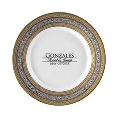 Elegance Personalized 10.75\u0027\u0027 Porcelain Dinner Plate $60  sc 1 st  Pinterest & Lotus Silver Line Personalized 11\u0027\u0027 Porcelain Dinner Plate $62 ...