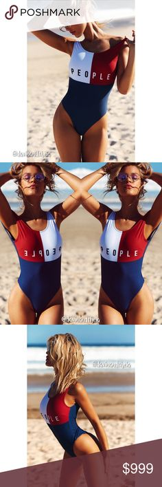 Arriving 6/15‼️  Red, Blue & White Swimsuit BRAND NEW  Red, blue & white patchwork one piece swimwear. Material is Spandex & Polyester. Limited quantity. RESERVE YOURS NOW!  Size Chart are approximate measurements,  please allow a few inches difference.  Please double check size chart before purchasing.  Please ask questions before purchasing. PRICE is FIRM NO Trades Davin+Theia Swim One Pieces
