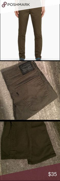 Men's Levi 511 Jeans NWOT Mens Levi 511 jeans. Never been worn. Pants were a gift to my husband but didn't fit. No wear and tear anywhere on the jeans. Bottom cuffs shown in picture. 36 waist, 32 length. Dark olive green/ khaki color. Levi's Pants Straight Leg