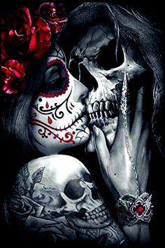 Dead Kiss Square Diamond Painting Product Description: At Pretty Neat Creative, we believe that noth Kunst Tattoos, Chicano Tattoos, Body Art Tattoos, Tattoo Drawings, Girl Tattoos, Tattoos For Guys, Men Tattoos, Small Tattoos, Cross Tattoos