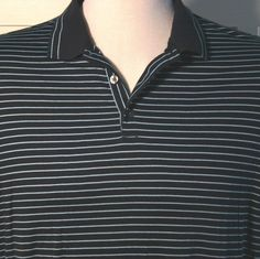 NIKE Golf Dri Fit Polo Shirt Navy Blue Striped Swoosh Mens XL Excellent #NikeGolf #PoloRugby