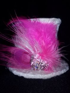 Hip hop pink mini tophat mini top hat fascinator by faeryfloral, $18.00