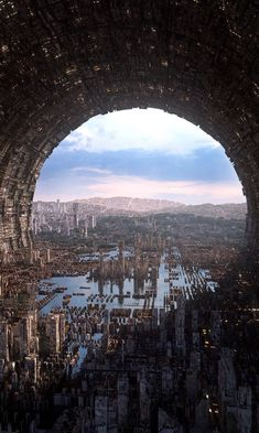 Art featuring all things futuristic. Whether it's retro or advanced technology, utopian cityscapes or ruined warscapes, if there's a Sci-Fi. Fantasy Places, Fantasy World, Fantasy Art, Concept Art Landscape, Fantasy Landscape, Arte Sci Fi, Sci Fi Art, Futuristic City, Futuristic Architecture