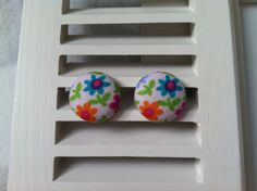 Multi-Colored Flowers on White Fabric Covered Button Post Earrings