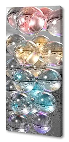 "@>>  Menaul Fine Art ""Illuminated Spheres"" Limited Edition Artwork, 24 x 57"", Gray/White/Silver/Yellow/Red/Pink/Blue/Purple/Green"