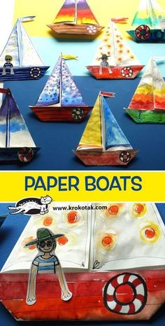 Children can fold the boat using printer paper and then paint with watercolors. Boat Crafts, Summer Crafts, Fun Crafts, Paper Crafts For Kids, Preschool Crafts, Projects For Kids, Sailboat Craft, Boat Craft Kids, Papier Kind