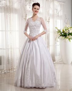 Satin V-neck Applique Ball Gown Wedding Dress