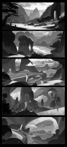 Bordertown/WhiteTower/Thumbnails by alantsuei on DeviantArt Landscape Sketch, Landscape Concept, Landscape Art, Environment Sketch, Environment Design, Bg Design, Digital Painting Tutorials, Illustration, Animation Background