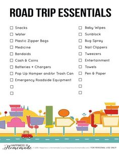 15 Road Trip Essentials + Printable - must have items for your next road trip – don't leave home without everything on this list! Free printable checklist to make sure you don't forget anything!
