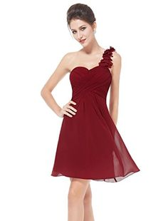 Ever Pretty Womens Flower One Shoulder Ruched Cocktail Party Dress 4 US Red - http://best-women-shop.xyz/2016/07/05/ever-pretty-womens-flower-one-shoulder-ruched-cocktail-party-dress-4-us-red/