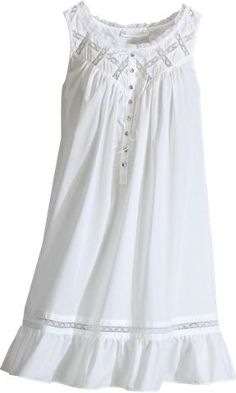 Moonlight Sonata short cotton nightgown by Eileen West is inspired by romance. Features lace detail along flounced hem and pintucking at bodice.