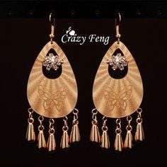 Online Shop Grátis frete na moda mulheres 18 k banhado a ouro gota de água da borboleta de cristal austríaco perfurado oscila brincos de jóias presente|Aliexpress Mobile