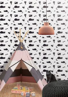 The cats meow. Simple in its design this quirky wallpaper will add just the right touch of feline finesse to any room.