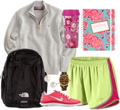 Vineyard Vines pullover + Norts + Nike running shoes + Lilly Pulitzer accessories + North Face backpack + MK watch