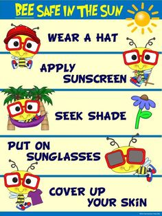 I chose this image because it tells us what to wear in order to be safe and have a good time at the beach the benefits of this is that you won't get burnt and you'll remember on how to be safe in the future when you go to the beach Sun Safety Activities, Safety Crafts, Summer Activities, Childcare Activities, Learning Activities, Nurse Bulletin Board, Bulletin Boards, Teaching Safety, Summer Time