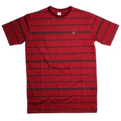 JOY | IDR 125000 | This regular fit men's knits short sleeve tee features the black stripes all over printed on red material, print on soft 30s Cotton Jersey.
