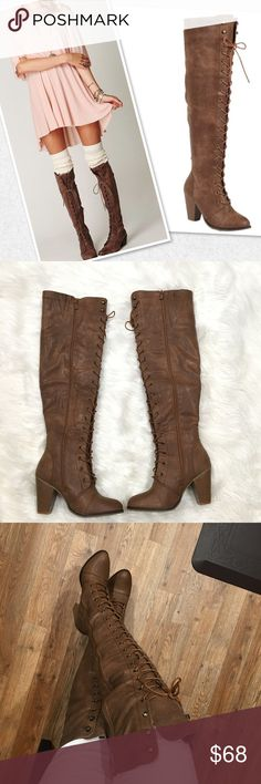 """Over the knee boots PRODUCT DESCRIPTION: These sleek, round toe boots are the perfect combination of style and comfort. A trendy lace-up closure gives this pair an added secure fit and lasting appeal.  2.5"""" heel 20"""" shaft 14"""" circumference Lace-up / zipper closure Man-made Imported RETURN POLICY: While this item is not eligible for returns, we're committed to you loving your order. Shoes Over the Knee Boots"""