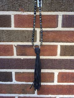 2T0353-BLK/CHOC Long D link tassel necklace with Brazilian Black Opal & pyrite