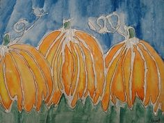 use glue for the lines, then watercolor over the shapes:  GLUE LINE Watercolor Pumpkins ~