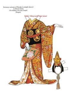Kabuki Costumes Paper Dolls by Ming-Ju Sun - Dover Publications, Inc., Plate 12 of Kimono Origami, Geisha, Paper Toys, Paper Crafts, Paper Doll Costume, Kabuki Costume, Larp, Doll Japan, Paper People