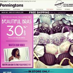 Deal Alert (CDN): Penningtons 30% Off Regular Priced Bras / In-Store Only Get Your $40 Style Savings Coupon. Happy Shopping!  #deal #alert #canada #penningtons #regularpriced #bras #lingerie #instore #stylesavingscoupon #shopping #style #women #clothing #plussize #clothing #indergarments #sale #budget