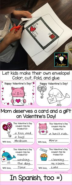 """Have students say, """"I love you! to Mom (or Dad or Grandma) with these Valentine's Day cards, envelopes and coupons.  Also in Spanish!  TpT$"""