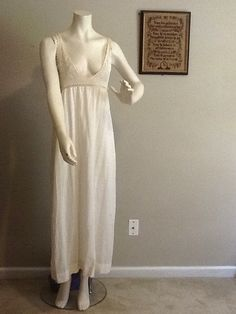 Vintage 1900 Antique White Lace Crochet Yoke Dress Nightgown Slip Lingerie Summer One Size  Cotton Victorian. $44.00, via Etsy.