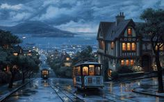 Russian Hill, North Beach District in San Francisco, California ~ painting by Thomas Kinkade Oh The Places You'll Go, Places To Travel, Places To Visit, San Francisco California, California Usa, Northern California, North Beach, Hampshire, The Good Place