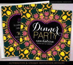 Tropical Hippie Love Batik Dinner Party #customizable #Invitations