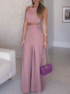 Solid Crop Top & Self-Belt Wide Leg Pant Sets. Women 2019 Fashion Elegant Formal Office Sleeveless Casual Suit Sets Ladies Solid Crop Top & Self-belt Wide Leg Pant Sets Overview: Gender: Women Material: Polyester Sleeve Length(cm): Sleeveless S Trend Fashion, Look Fashion, Womens Fashion, Ladies Fashion, Fashion Ideas, Feminine Fashion, Fashion 2018, Elegance Fashion, Cheap Fashion