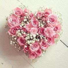 A most beautiful pink roses & gypsophila heart of flowers. Lovely on the top table at a wedding reception Beautiful Pink Roses, My Flower, Pink Flowers, Beautiful Flowers, Hearts And Roses, Valentines Flowers, Coming Up Roses, Funeral Flowers, Rose Cottage