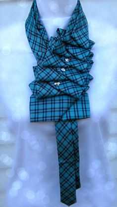 Silk Scarf   Ruffle Tie  teal-plaid hand by TiedToPerfectionNH
