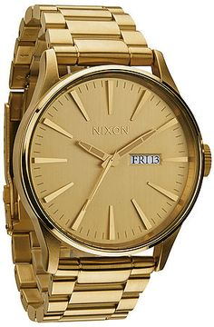 The Sentry Sterling Silver Watch in All Gold by Nixon