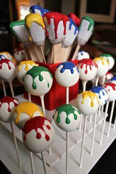 Paintbrush and Paint Splat Cake Pops Artist Birthday Party, 4th Birthday Parties, Birthday Fun, Birthday Party Decorations, Birthday Ideas, Kids Art Party, Craft Party, Art Party Cakes, Art Themed Party