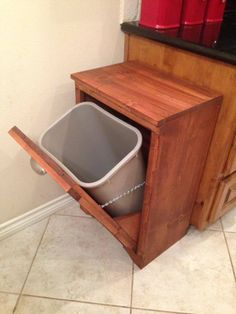 Tilt Out Wooden Trash Bin | Ana White Diy Projects For Men, Woodworking Projects Diy, Home Projects, Woodworking Plans, Kitchen Garbage Can Storage, Kitchen Trash Cans, Wooden Kitchen, Diy Kitchen, Kitchen Design