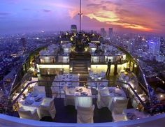 Vertigo, on the rooftop of the 61-story Banyan Tree Bangkok, is named for Alfred Hitchcock's famous Thriller.  This restaurant and bar comes alive at sunset.