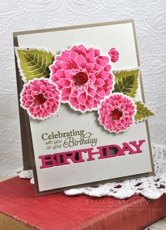 Delightful Dahlia Additions sentiments on kraft card stockin hibiscus burst, raspberry fizz and pure poppy inks. Flower Birthday Cards, Flower Cards, Bday Cards, Anna Griffin Cards, Ppr, Card Sketches, Card Tags, Scrapbook Cards, Homemade Cards