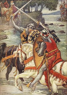 Beaumains Wins the Fight at the Ford. Illustration for King Arthur's Knights (1905) by Walter Crane