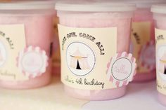 LOVE cotton candy with personalized labels for favors.