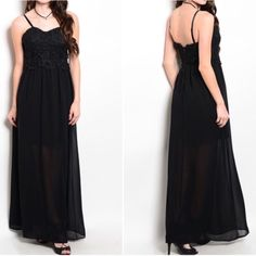 """✳️ SALE ✳️ Gorgeous crochet top maxi, sz S M L Beautiful black maxi crochet top half  I lightened the bodice for u to see detail adjustable elastic shoulder straps 3/4"""" lining with remainder of skirting being a woven black sheer over black lining  padded bust zip back  100% polyester  size small bust 30-32  waist26-28 hips up to 36"""" size medium bust 32-34 waist 28-30 hips up to 38 size large bust 34-36 waist 30-32 hips up to 40  length from top of shoulder strap at longest adjustable 59""""…"""
