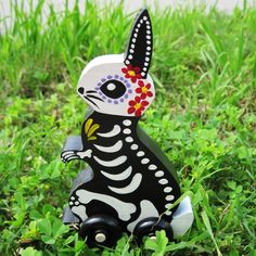 Day of the Dead BUNNY Rabbit Wood Toy Vintage by illustratedink