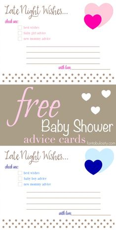 """SO fun for a baby shower! Free printable, """"Late Night Wishes,"""" advice cards for Boy and Girl, new mom AND second time mom! http://fantabulosity.com"""