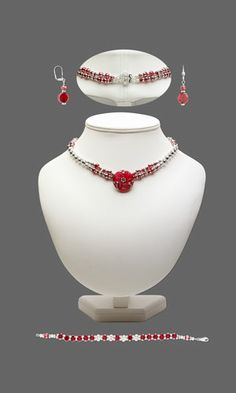 Double-Strand Necklace, Bracelet and Earring Set with SWAROVSKI ELEMENTS, Glass Beads and Czech Glass and Brass Button