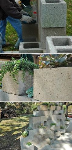 5 Ways to Use Cinder Blocks in the Garden • Lots of creative projects, ideas and tutorials! Including, from 'j peterson garden design', this cinder block succulent planter project. by maricela