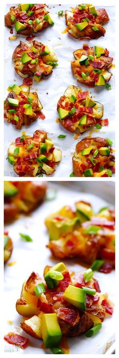 Loaded Smashed Red Potatoes -- load em up with your favorite toppings and serve as a side dish or game day appetizer gimmesomeoven com gameday Tapas Recipes, Side Dish Recipes, Cooking Recipes, Healthy Recipes, Veggie Recipes, Side Dishes, Healthy Food, I Love Food, Good Food