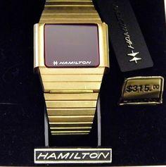 Vintage Hamilton LED Watch, NOS, Circa 1970s (On Factory Tag: Belita, Quartz/6 Gen. Dia., Micron Plated/SSB, 848027Y).