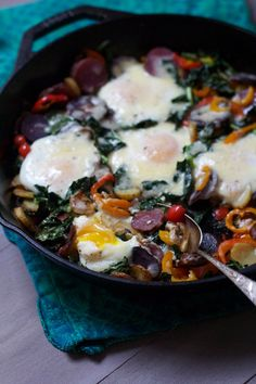 kale potato hash with baked eggs and cheddar When a savory dish makes an appearance in my home two times in one week I know it's worth sharing with you guys. I'm all about a nice, filling, savory breakfast on the weekends, something Andy &amp...