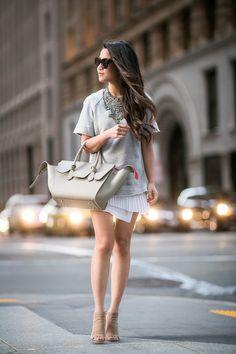 Its a dress, but I feel like I can recreate this San Francisco Layers :: Sweatshirt dress Nyc Fashion, Grey Fashion, Petite Fashion, Look Fashion, Fashion Outfits, Womens Fashion, Fashion Capsule, Fashion Skirts, Fashion 2020